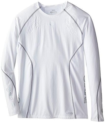 SKINS A200 Top Long Sleeves T-Shirt de Compression Homme Blanc FR : S (Taille Fabricant : S)