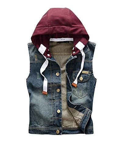 Kapuzen Jeansjacke Weste Slim Rmellos Metallschnalle Herrenmode Weste Jacke Outwear Herren Einreihig Hoody Herren (Color : Dunkelblau, Size : M)