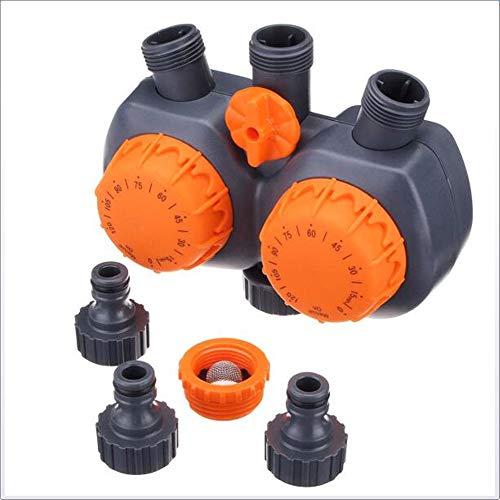 YourBooy Automatischer elektronischer Bewässerungsregler, 3 Anschlüsse, 2 Köpfe, mechanischer Wassertimer, Schlauchhahn, Gartenbewässerungsregler, Timing, automatische Bewässerung,Orange