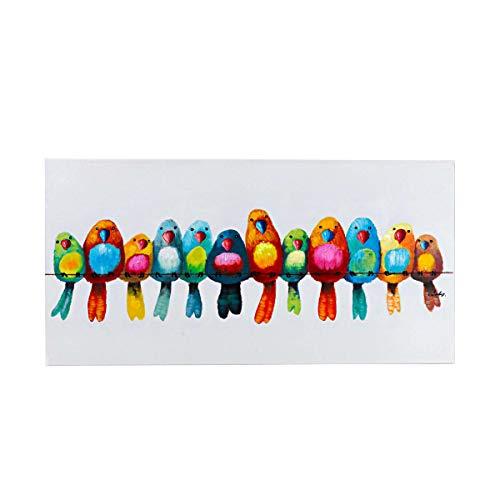 Pureday Bild auf Leinwand Motiv Vögel Acryl weiß bunt 120 x 60 cm