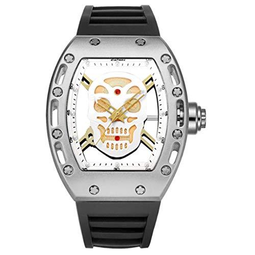 Gnaixyc Reloj analógico clásico de cuarzo para hombre con correa de silicona, reloj de pulsera minimalista con esfera de calavera, C, L