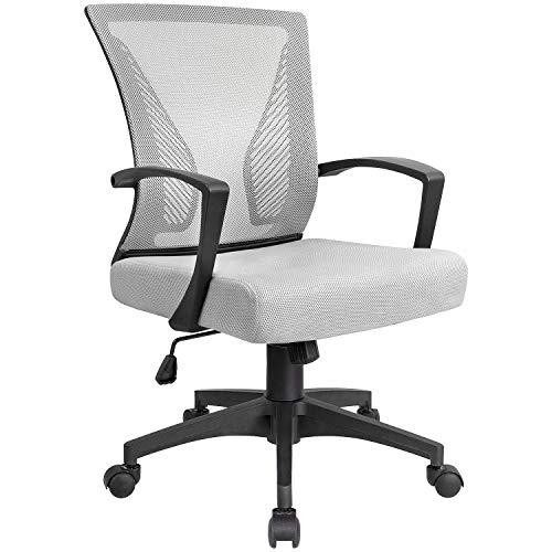 KaiMeng Ergonomic Grey Office Clearance Mesh Computer Lumbar Support Mid Back Study Desk Modern Executive Task Chair Cheap Adjustable Swivel, 19.8' x 19.8' x 38.8'