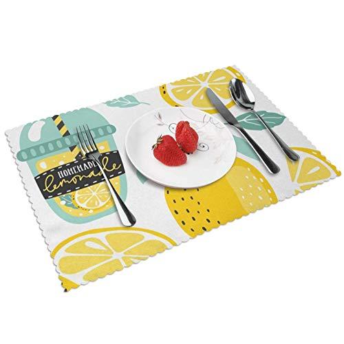 Manteles Individuales Limón 702, Mantel Individual Antideslizante Resistente Al Calor Salvamanteles Juego De 4 para La Mesa De Comedor De Cocina, 45x30 Cm