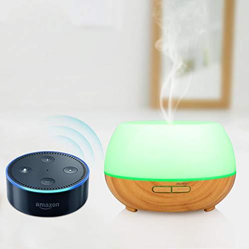 INKERSCOOP Difusor de Aromas Wi-Fi Inteligente, Control de Voz Funciona con Amazon Alexa y Smart Phone Tablets App Control, 300ML Humidificador con 7 Colores LED, Ajustes del Temporizador