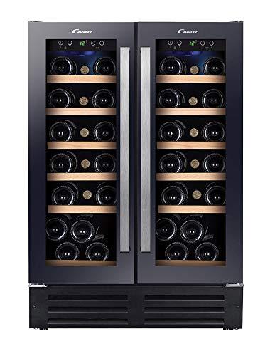 Candy CCVB 60D Vinoteca integrable, 19+19 botellas, 60cm ancho, estanterías de madera, luz led interior, acero inoxidable