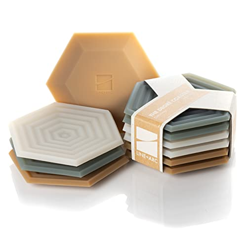 Set of 6 Degrē Coasters (Joshua Tree) by LINE+ARC. 10mm Thick, Dishwasher Safe, Stain-Resistant, Outdoor, Coffee Table, Silicone, Modern, Hexagon, Mid Century, Cup, Drink, Non-Absorbent, Housewarming