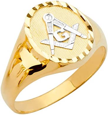 Sonia Jewels 14k Yellow Gold Round Mens Fashion Anniversary Ring W Masonic Size 8 product image