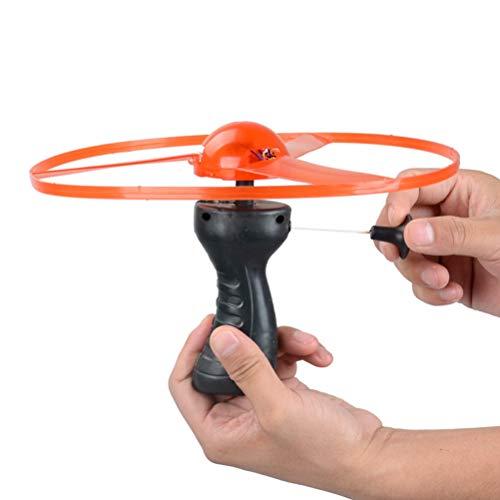 YIPUTONG Fliegen Spielzeug, Flugkreisel Propeller Pull String UFO LED leuchten Fliegende Untertasse Leuchtspielzeug Spielspaß Disc Kinderspielzeug für Kinder und Erwachsene, Zufällige Farbe