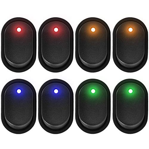 eFuncar 3Pin 12V 30A Toggle Switch SPST ON Off, Waterproof LED Blue Green Yellow Red Lighted Rocker Switch for Car Truck Boat Marine Auto Motorcycle, 8Pcs (2 for Each Color)