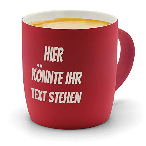printplanet - Kaffeebecher mit eigenem Text graviert - SoftTouch Tasse mit Wunschtext - Matt-gummierte Oberfläche - Farbe Rot