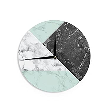 KESS InHouse KESS Original  Geo Marble and Mint  Black Art Deco Wall Clock, 12