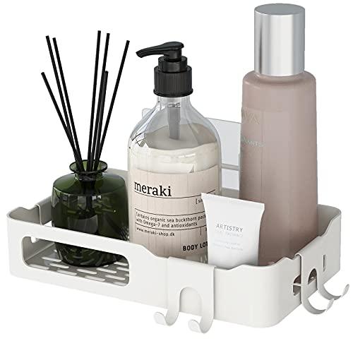 Cesta de ducha sin taladrar/estantería de ducha, fuerte autoadhesiva, estante de pared de acero inoxidable y duradero para accesorios de cocina y baño (negro/blanco)