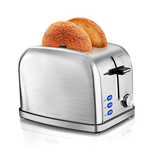 iFedio Toaster 2 Slice Toaster, Retro Stainless Steel Bread Toaster for Waffles with Bagel Defrost Cancel Function & 7 Settings Wide and Long Slot (Silver)