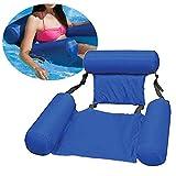 Nakw88 - Silla de agua hinchable para piscina, tumbona para exteriores, plegable, hamaca inflable con respaldo de doble uso, cama de agua de entretenimiento, color azul, No nulo, azul, Tamaño libre