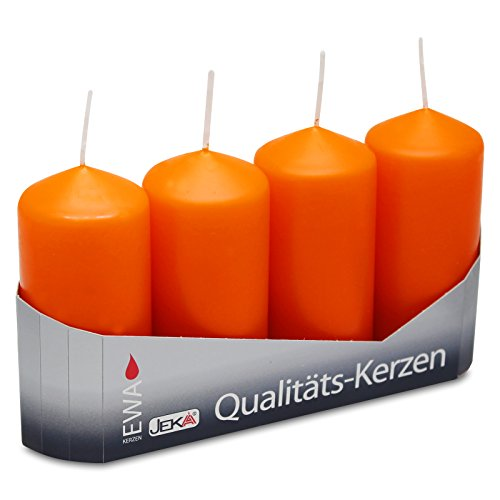 OLShop AG 3er Pack Stumpenkerzen orange, ca. 40 x 90 mm (3 x 4 Stück) Kerze Kaminkerze Laternenkerze Dekoration