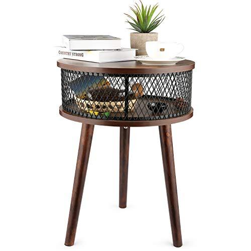 BATHWA Table Couchtisch Coffee Table, runder Nachttisch mit Ablagekorb, Wohnzimmer Sofatisch Beistelltisch, Metal und Holz