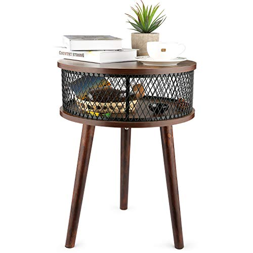 BATHWA Industrial Round End Table, Side Table with Metal Storage Basket, Vintage Accent Table, Wooden Look Furniture with Metal Frame, Easy Assembly (Brown)