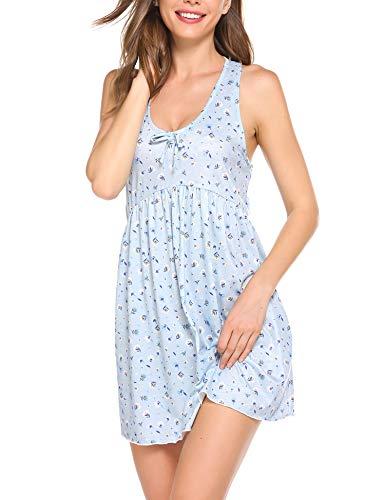 Ekouaer Nachtwäsche Damen Sommer Nachthemd Ärmellos Nachthemden mit Knopfleiste Nostalgischer Blumenprint Schlafshirt Ärmelloses Nachtkleid,Blau,s