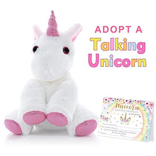 Talking Unicorn Plush Stuffed Animal - Peluche de Unicornio - Birthday Gifts Ideas Interactive Toys for Girls Teens Graduation Gifts for Kids Preschool Kindergarten