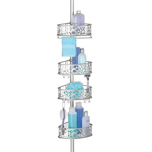 mDesign Estantería de ducha rinconera de metal – Estantería telescópica sin taladro para el baño – Elegante organizador de ducha para champú, acondicionador, etc. – Con diseño floral – plateado