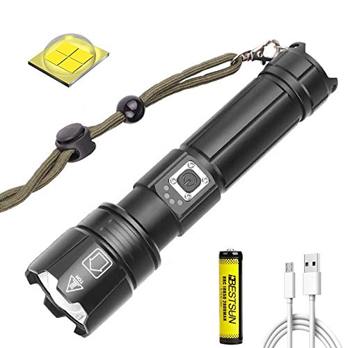 8000 Lumen XHP70.2 LED-Taschenlampe Superhelle taktische Taschenlampe USB Wiederaufladbare Handlampe Zoombar 5 Modi Taschenlampe Wasserdichte Taschenlampe mit Stromanzeige für Camping