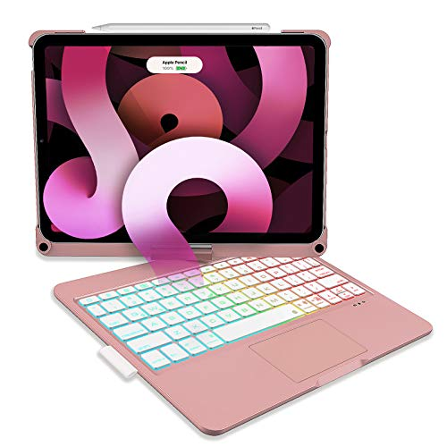 iPad Air 4 Keyboard Case, D DINGRICH Smart Keyboard Folio Case, Built-in Touchpad, Pencil Holder, 7 Color Backlit, 360 Rotating, for iPad Air (4th Generation) and iPad Pro 11-inch 2020/2018, Rose Gold