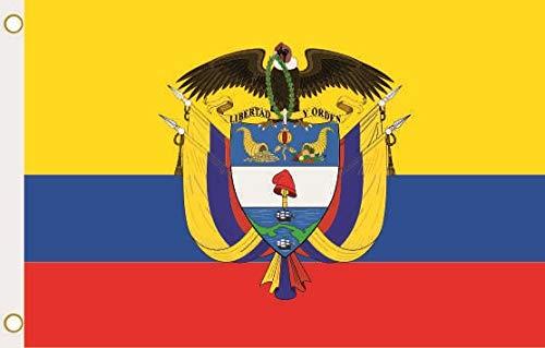 U24 Drapeau de la Colombie avec armoiries 90 x 150 cm