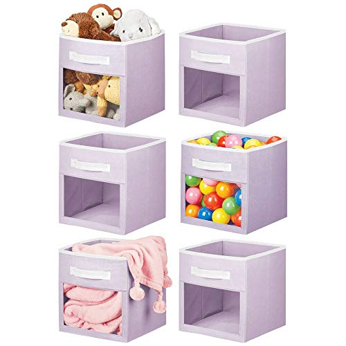 mDesign Soft Fabric Closet Storage Organizer Cube Bin Box, Clear Window and Handle - for Child/Kids Room, Nursery, Playroom, Furniture Units, Shelf, 6 Pack - Light Purple/White
