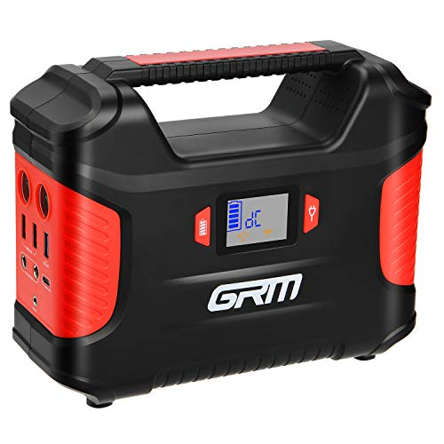 GRM Portable Power Station, 155Wh/100W/42000mAh Rechargeable Outdoor Solar Generator with 110V AC Outlet, 2 DC Ports, 3 USB Ports LED Flashlights, Camping Lamp for Camping Travel Emergency Backup