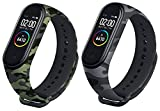 Rapidotzz Silicone Band Strap Compatible for Mi Band 4 and Mi Band 3 (Camouflage Green and Camouflage Grey) - Pack of 2