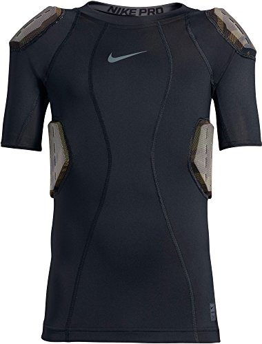 Nike Youth Pro Combat Hyperstrong 4-Pad Camo Football Shirt, (Black/Dark Grey, L)