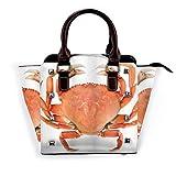 BROWCIN Tema de animales marinos Un cangrejo Dungeness cocido con imagen de marcas nacionales Desmontable Moda Tendencia Bolso de las señoras Bolso de hombro