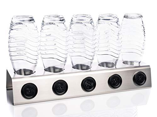 Streambrush Two in ONE Abtropfhalter und Spülmaschineneinsatz aus Edelstahl für z.B. Sodastream Crystal & Emil Flaschen - Flaschenhalter mit praktischer Deckelhalterung   Made in Germany 5X