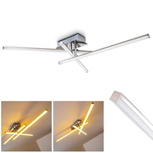 Preisvergleich Produktbild LED Deckenleuchte Powassan,  moderne Deckenlampe in Chrom,  3-flammig mit verstellbaren Lichtleisten,  3 x 5 Watt,  je 500 Lumen (1500 Lumen insgesamt),  3000 Kelvin (warmweiß)