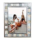 GIFTME 5 Silver Plate Picture Frame 5x7 Mother of Pearl 5 by 7 Photo...