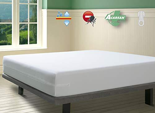 SAVEL - Funda de Colchón con Tratamiento Antiácaros Impermeable y Transpirable | (105 x 190/200cm | Altos hasta 30cm