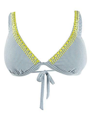 Lucky Brand Women's V-Neck Banded Hipster Bikini Swimsuit Top, Blue//Santa Margarita, L