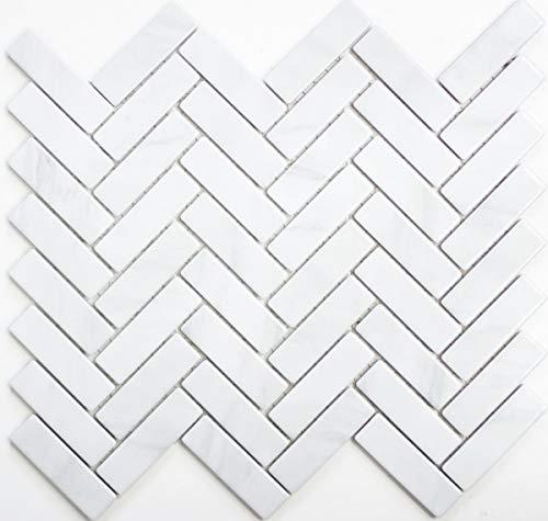 Mozaïek tegel keramiek visgraat steen-look wit tegelspiegel keuken MOS24-SO10_f | 10 mozaïekmatten