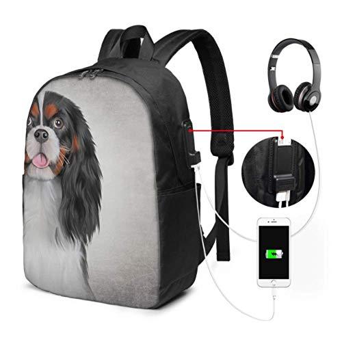 Schultasche Zeichnung Hund Cavalier King Charles Spaniel Wanderrucksack Laptop Mit USB Ladeanschluss Und Kopfhöreranschluss Für College Work Travel