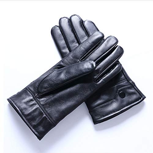 Huoqiin handschoenen van leer voor heren en dames in warme winter meerdere handschoenen van schapenvacht, dun van dik fluweel in een fietszadel