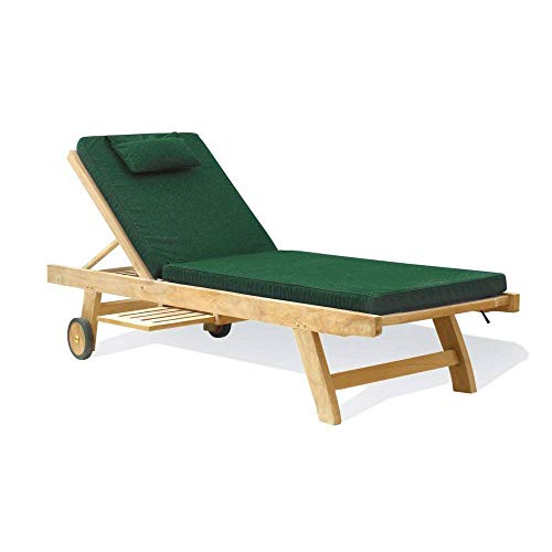 Jati Low priced Teak Garden Sun Lounger with Green Cushion Brand, Quality & Value