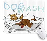 NIESIKKLAマウスパッド お互いをグルーミングする浴槽で遊び心のある犬ペットテーマイラスト ゲーミング オフィス最適 高級感 おしゃれ 防水 耐久性が良い 滑り止めゴム底 ゲーミングなど適用 用ノートブックコンピュータマウスマット
