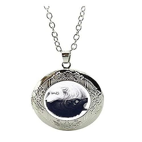 Collar con medallón de lobo blanco y negro Ying Yang, collar con medallón de sol y luna, joyería de moda de Tai Chi