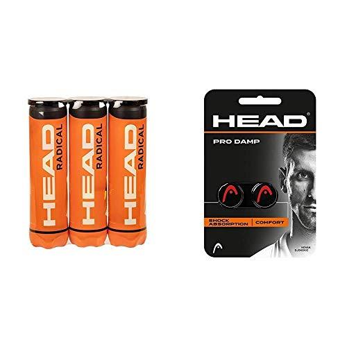 Head Radical Tennisball (3 x 4 Stück) & Unisex-Erwachsene Pro Damp Tennis Dämpfer, Black, Einheitsgröße