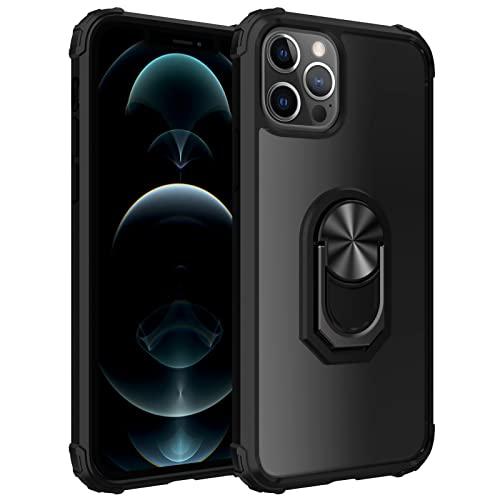 Funda para iPhone 13 Pro con Soporte para Anillo Pata De Cabra, Protección contra Caídas, A Prueba De Golpes, Funda para Teléfono Funda Protectora para Teléfono,Negro,FOR iPhone 13pro