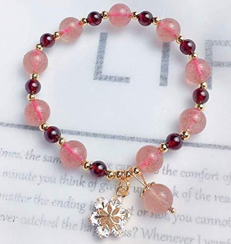 Wsadjkl Alloy Bracelet Feng Shui Genuine Gemstone Pink Bracelet Garnet Strawberry Quartz Snowflake Charm Bracelet 14K Gold-Filled Wealth Popularity Love For Women Attract