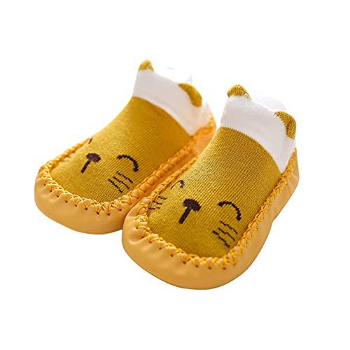 Chaussettes antidérapantes pour fille et garçon - Chaussons d'apprentissage - Sol souple - Chaussures tricotées antidérapantes pour bébé - Chaussons d'intérieur mignons pour bébé, jaune, 23