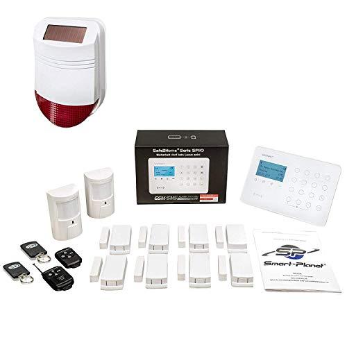 Safe2Home® Funk Alarmanlagen Set SP110 mit Sabotageschutz Solar Sirene deutschsprachiges GSM Alarmsystem SMS Alarmierung - Alarmanlagen fürs Haus Büro inkl. Zubehör Sensoren z.B. Bewegungsmelder