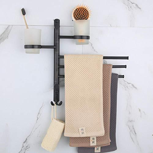 CBXSF RVS handdoekhouder zwart roterende handdoekhouder creatieve activiteit staaf badkamer handdoek hangende bar dubbele beker rek badaccessoires Drie paar Black Ancient Cup