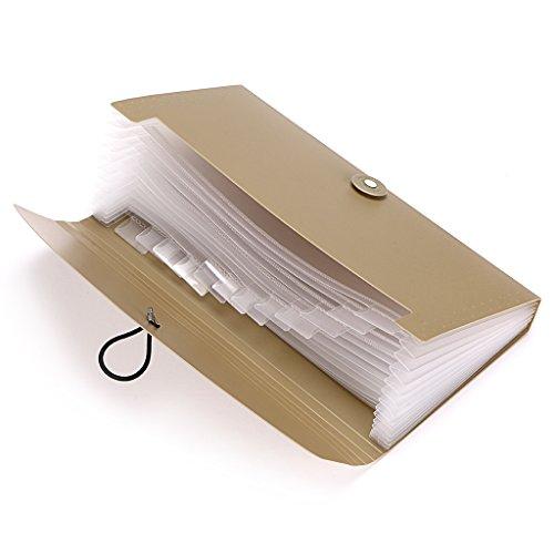 BTSKY Expanding File Folder –New 13 Pockets Small Accordion File Folder Expandable Card Ticket Holder File Storage Folder Check Bill File Folder Plastic Business Document Organizer Wallet Case(Khaki) Photo #7
